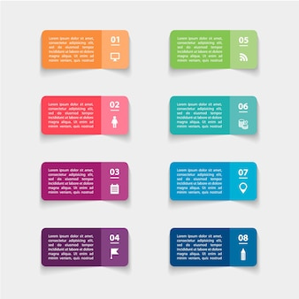 Adesivos de papel e etiquetas com sombras realistas para infográfico