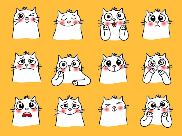 Adesivos de personagem de gato. desenhos animados de animais de estimação com emoções fofas, imagens gráficas de animais amorosos sorridentes, ilustração vetorial de emoji engraçado de gatos com olhos grandes isolados em backgro amarelo