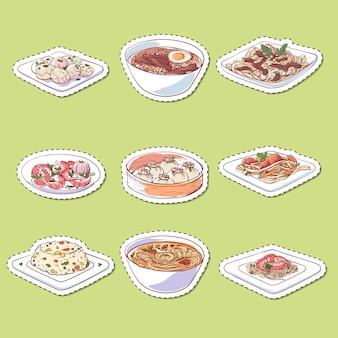 Adesivos de pratos isolados de cozinha chinesa