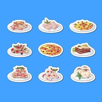 Adesivos de pratos isolados de cozinha italiana