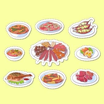 Adesivos de pratos isolados de cozinha tailandesa