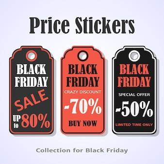 Adesivos de preço de sexta-feira preto