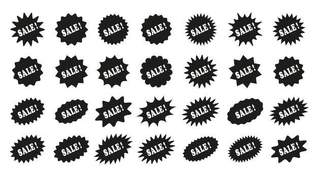 Adesivos de preço starburst de venda. formato de estrela do texto explicativo. selos promocionais com desconto. rótulos de tag de produto