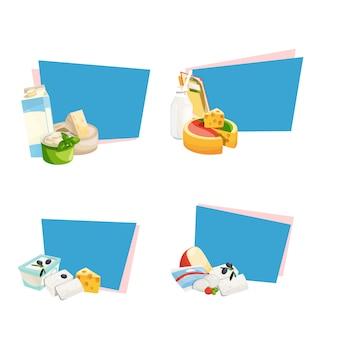 Adesivos de produtos lácteos e queijo dos desenhos animados