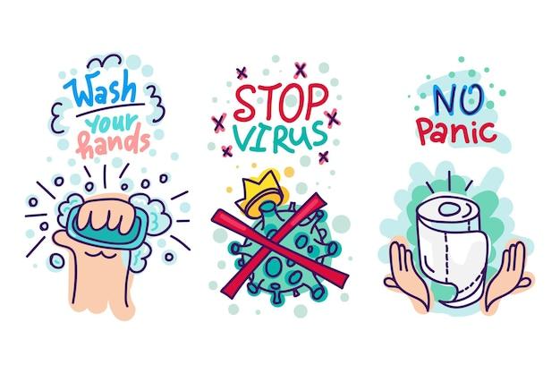 Adesivos de proteção contra vírus. emblemas de desenhos animados com lavagem das mãos por sabão com bolhas, vírus com coroa e papel higiênico com texto desenhado à mão para etiquetas, cartaz, banner, cartão de modelo, impressão. vetor