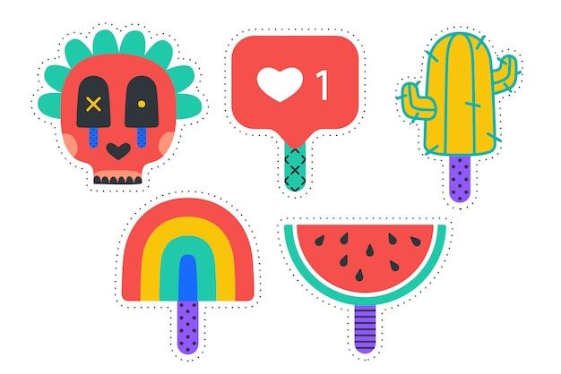 Adesivos de sorvete. adesivos divertidos coloridos para sorvete