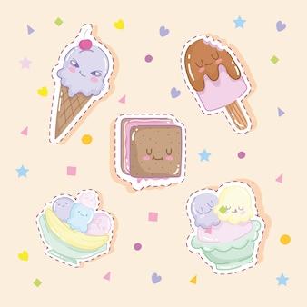 Adesivos de sorvetes fofos