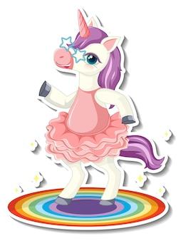 Adesivos de unicórnio fofinho com um personagem de desenho animado dançando unicórnio