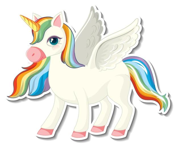 Adesivos de unicórnio fofos com um personagem de desenho animado de arco-íris