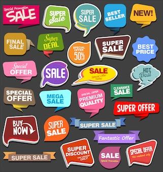 Adesivos de venda e etiquetas ou rótulos na bolha do discurso