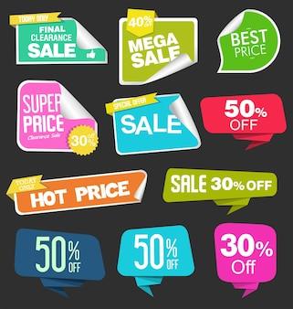 Adesivos de venda na coleção de ilustração de fundo preto Vetor Premium