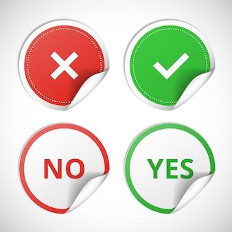 Adesivos de vetor com consentimento e negação em fundo branco