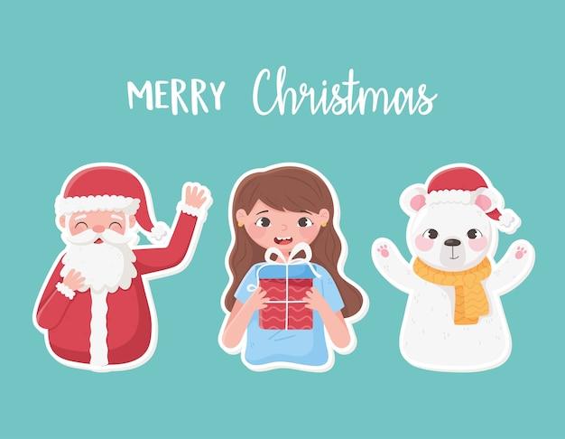 Adesivos decorativos de feliz natal com menina santa com ilustração de presente e urso