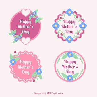 Adesivos do dia de mãe com flores azuis decorativos