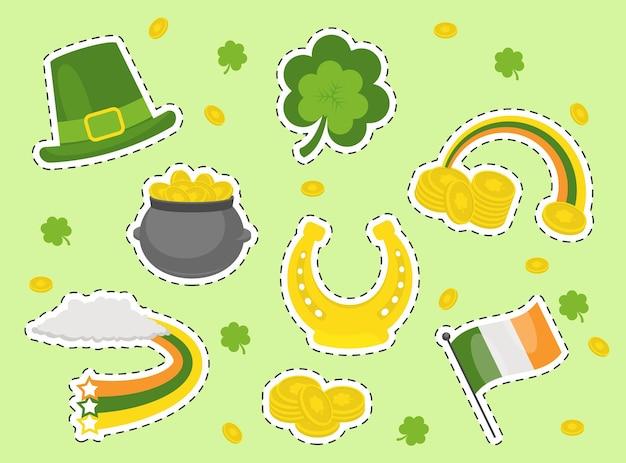 Adesivos do dia de são patrício. feriado do lucky patrick day na irlanda