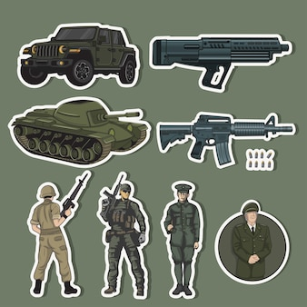 Adesivos do exército com armas e veículos