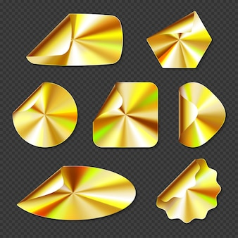 Adesivos dourados holográficos, rótulos com textura gradiente dourada