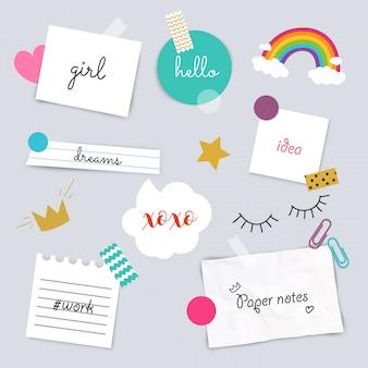 Adesivos e coleção de papéis de nota. diferentes pedaços de papel presos por fita adesiva. ilustração.
