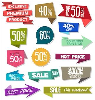 Adesivos e emblemas coloridos de venda design ilustração