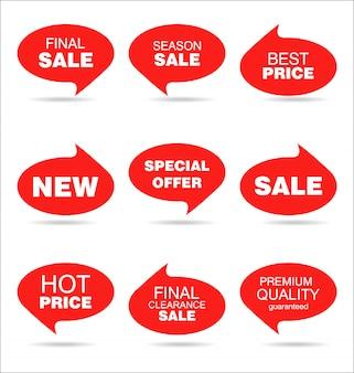 Adesivos e emblemas coloridos de venda