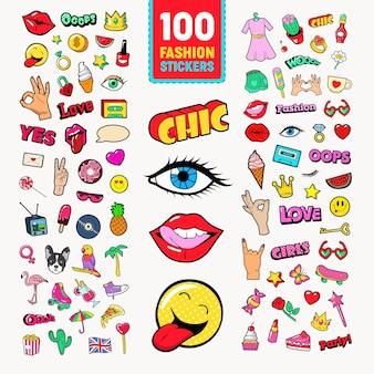 Adesivos e emblemas da moda com lábios