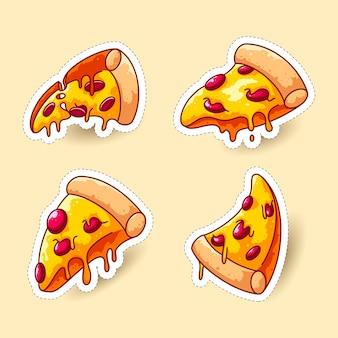 Adesivos e patches de pizza fofos