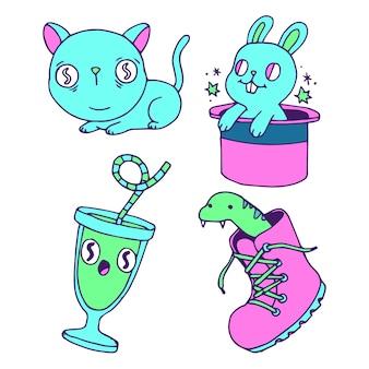 Adesivos em cores ácidas e desenhos engraçados