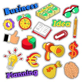 Adesivos em quadrinhos de ideia de negócio, adesivos, emblemas com cérebro e megafone. doodle vector