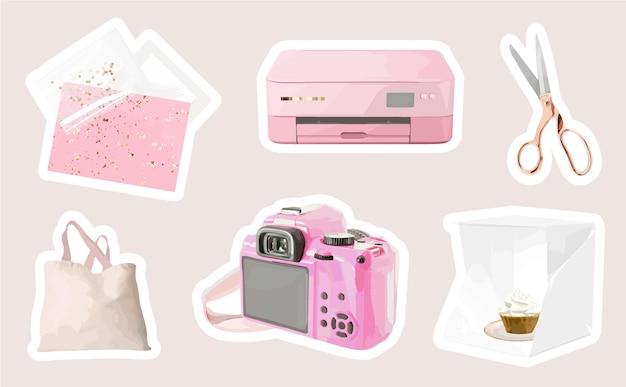 Adesivos femininos com câmera de conceito de oficina criativa diy e elementos de artesanato
