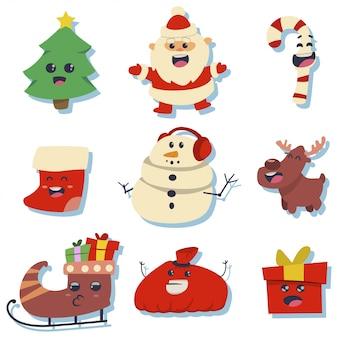 Adesivos fofos de natal com caracteres kawaii de férias: papai noel, árvore, pirulito, meia, boneco de neve, caixa de presente, rena, trenó e bolsa.