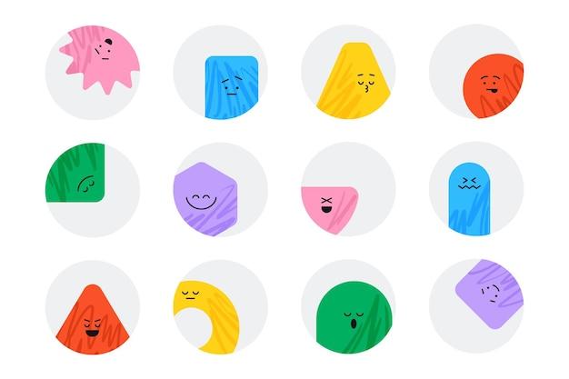Adesivos geométricos vetoriais com diferentes emoções de rosto personagens de desenhos animados bonitos