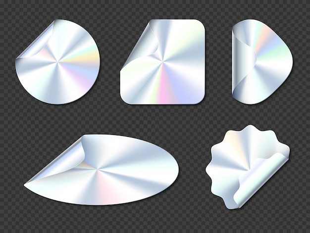 Adesivos holográficos, rótulos de holograma com bordas onduladas.