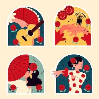 Adesivos ingênuos de dançarinos de flamenco