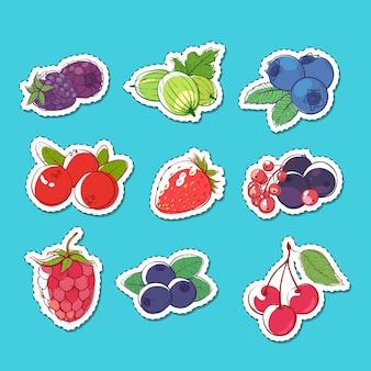 Adesivos isolados de frutas frescas e suculentas