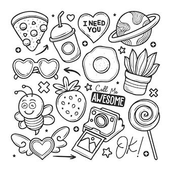 Adesivos mão desenhada doodle