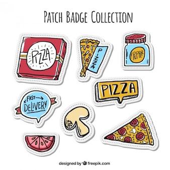 Adesivos pacote de desenhado mão da pizza
