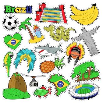 Adesivos, patches, crachás para estampas com bananas, selva e elementos brasileiros. doodle de estilo cômico