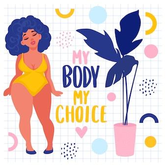 Adesivos positivos do corpo. plus size mulher vestida em trajes de banho.