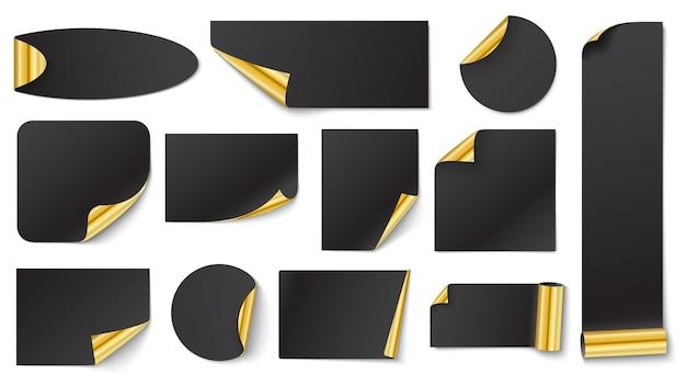 Adesivos pretos com ouro. adesivo canto dourado em branco, ilustração vetorial em branco preto com ondulação de canto