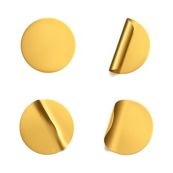 Adesivos redondos dourados amassados com conjunto de cantos descascados.