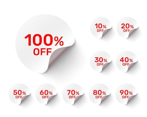 Adesivos redondos promocionais em fundo branco, conjunto de embalagem. ilustração vetorial