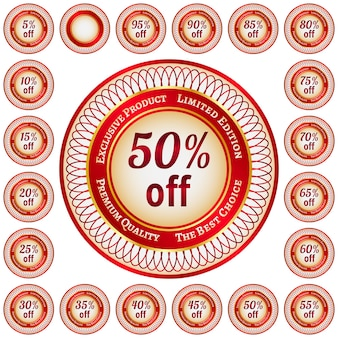Adesivos redondos vermelhos e dourados ou etiquetas com desconto percentual