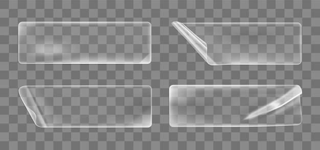 Adesivos retangulares amarrotados colados transparentes com cantos enrolados