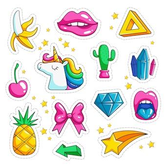 Adesivos retrô pop art, sorvete olhos arco-íris dos desenhos animados conjunto 80 e 90