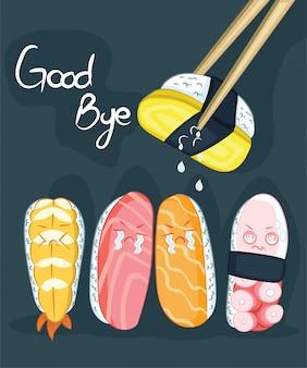 Adeus design de cartaz de sushi com caráter de sushi do vetor.