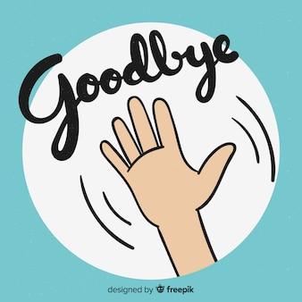 Adeus fundo de rotulação de mão de desenho animado