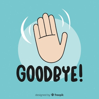 Adeus, movendo a mão lettering fundo