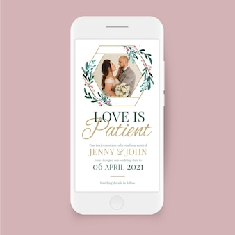 Adiado casamento na tela do smartphone