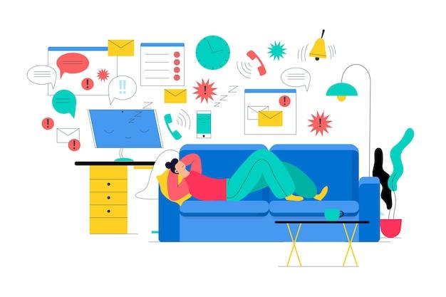 Adiado conceito de atividades e relaxar