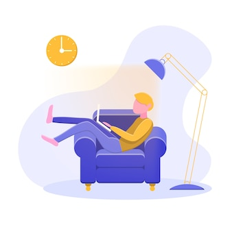 Adiado conceito homem no sofá